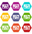 navigation icon set color hexahedron vector image vector image