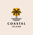 palm tree beach logo design vector image vector image