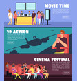 people in cinema movie horizontal banners family vector image