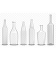 realistic glass empty bottle in various design set vector image