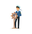 sailor man character in blue uniform gripping vector image vector image