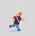 schoolboy with backpack running back to school vector image vector image