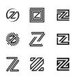 set letter z vector image vector image