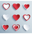 set paper hearts design element valentines day vector image