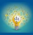 shining light bulb and set of dollar icons vector image vector image
