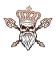 Skull crown and royal scepter vector image vector image