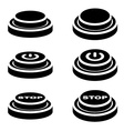 start stop knob button black symbols vector image vector image