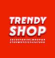 stylish emblem trendy shop modern font vector image