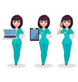 veterinarian woman set of three poses vector image
