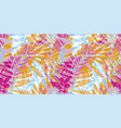 colorful pink and blue tropical seamless pattern vector image