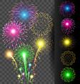 Colorful firework set on translucent background vector image
