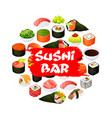 asian sushi bar food japanese seafood rolls vector image vector image