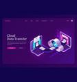 banner cloud data transfer vector image