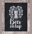beer glass drawing chalk on board in wooden frame vector image vector image
