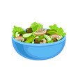 blue ceramic bowl of tasty salad with fresh vector image