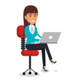 businesswoman in chair workplace character vector image