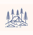 camping tent in forest outline vector image