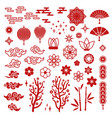 chinese new year elements red asian traditional vector image vector image