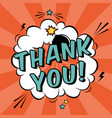 colorful pop art with thank you text decorative vector image