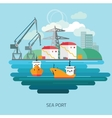 Container cargo ship loaded by harbor crane vector image
