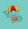 delivery concept parachute flying with wooden box vector image vector image