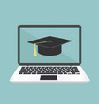 e-learning laptop concept with graduation cap vector image