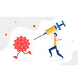fight coronavirus vaccination concept viral cell vector image