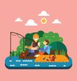 Fishing landscape vector image