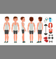 fitness man different poses lifestyle vector image