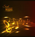 Golden music notes stave poster vector image