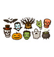 halloween labels or stickers holiday vector image