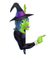 halloween witch pointing vector image vector image