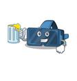 happy vr virtual reality mascot design with a big vector image vector image