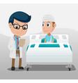 hospital doctor patient room background vector image