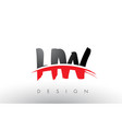 hw h w brush logo letters with red and black vector image vector image