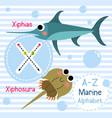 letter x tracing xiphias xiphosura marine alphabet