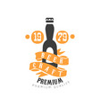 logo template with bottle of craft beer vector image vector image