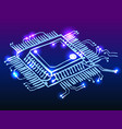 microchip processor glowing doodle vector image vector image