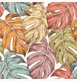 monstera leaves hand drawn retro seamless pattern vector image