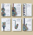 music magazine layout flyer invitation design set vector image vector image