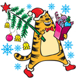 New Years cat with Christmas tree vector image vector image