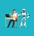 robot employee kicks away human worker from vector image vector image