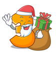 santa with gift number three isolated on the vector image vector image