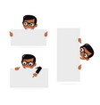 set cartoon boy and blank paper for web site user vector image vector image