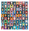 Set of people icons in flat style with faces 18 b vector image vector image