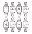 smart watch icons outline isolated set vector image vector image