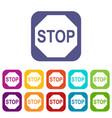 stop sign icons set vector image vector image
