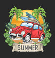 summer surfer and car with coconut tree artwork ve vector image