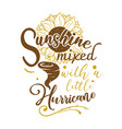 sunshine mixed with a little hurricane quote vector image