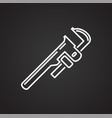 tool wrench line icon on black background for vector image